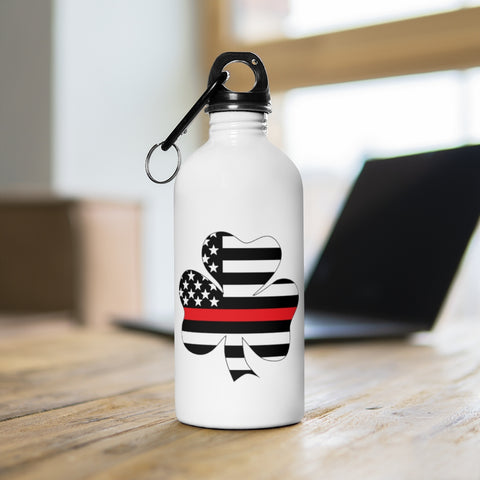 American Flag Clover Red Stripe Stainless Steel Water Bottle - PoliticHell