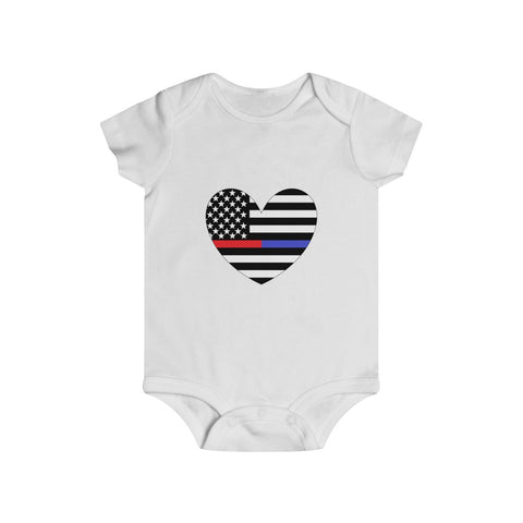 American Flag Heart Blue And Red Stripe Bottom Snap Onesie - PoliticHell
