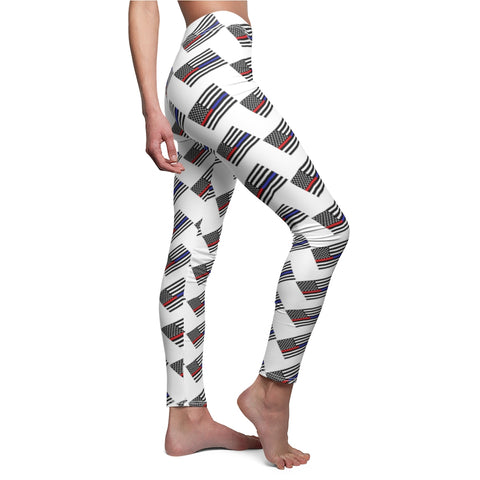 American Flag With Red And Blue Stripe Leggings - PoliticHell