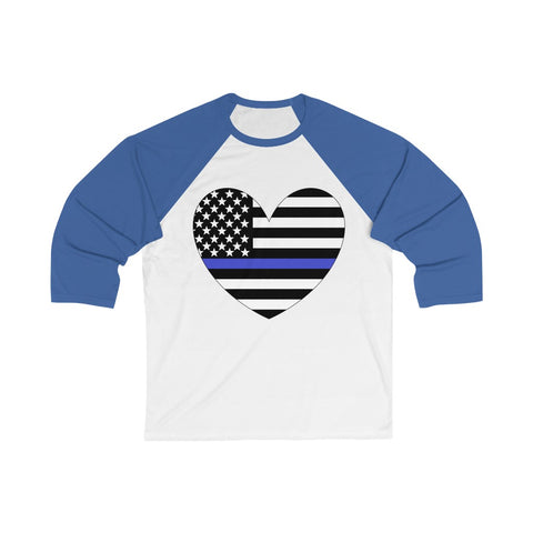 American Flag Heart Blue Stripe 3/4 Sleeve Baseball Tee - PoliticHell