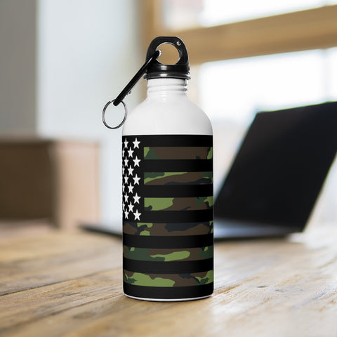 American Flag Camouflage Stripe Stainless Steel Water Bottle - PoliticHell