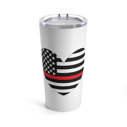 American Flag Heart Red Stripe Tumbler 20 oz - PoliticHell