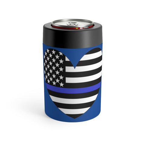 American Flag Heart Blue Stripe Can Holder - PoliticHell