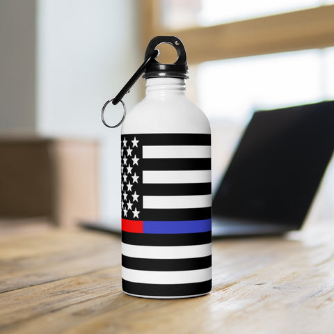 American Flag Red And Blue Stripe Stainless Steel Water Bottle - PoliticHell