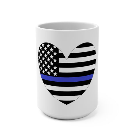 American Flag Heart Blue Stripe Mug 15 oz - PoliticHell