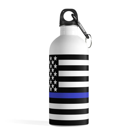 American Flag Blue Stripe Stainless Steel Water Bottle - PoliticHell