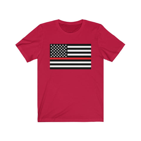 American Flag Red Stripe Short Sleeve Shirt - PoliticHell