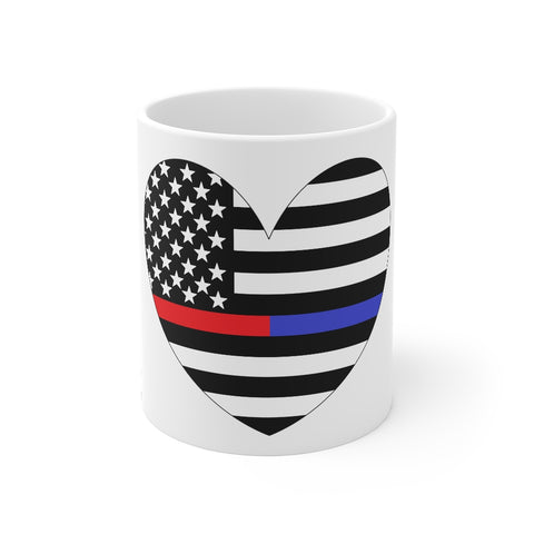 American Flag Heart Blue And Red Stripe Mug 11 oz - PoliticHell