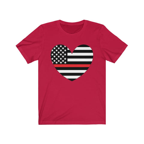 American Flag Heart Red Stripe Short Sleeve Shirt - PoliticHell