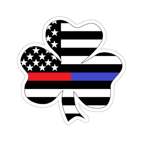 American Flag Clover Blue And Red Stripe Sticker - PoliticHell