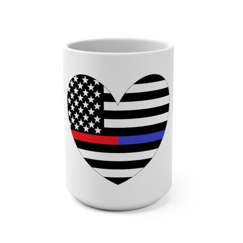 American Flag Heart Blue And Red Stripe Mug 15 oz - PoliticHell