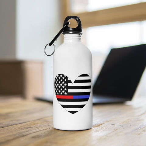 American Flag Heart Red And Blue Stripe Stainless Steel Water Bottle - PoliticHell