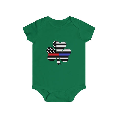 American Flag Clover Blue And Red Stripe Bottom Snap Onesie - PoliticHell