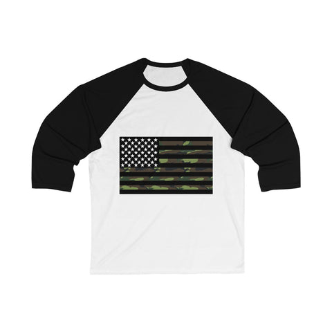 American Flag Camouflage Stripe 3/4 Sleeve Baseball Tee - PoliticHell