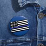 American Flag Blue Stripe Pin Button - PoliticHell
