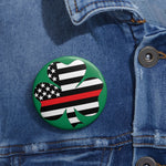 American Flag Clover Red Stripe Pin Button - PoliticHell