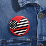 American Flag Heart Red Stripe Pin Button - PoliticHell