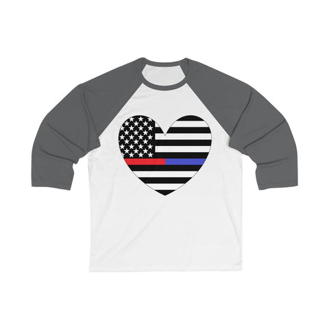 American Flag Heart Blue And Red Stripe 3/4 Sleeve Baseball Tee - PoliticHell