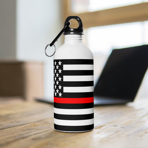American Flag Red Stripe Stainless Steel Water Bottle - PoliticHell
