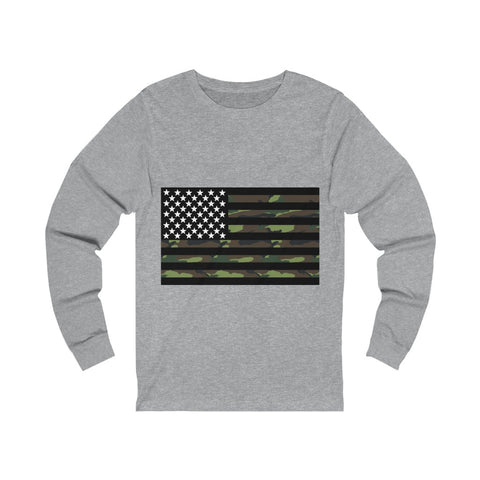 American Flag Camouflage Stripe Unisex Jersey Long Sleeve Tee - PoliticHell