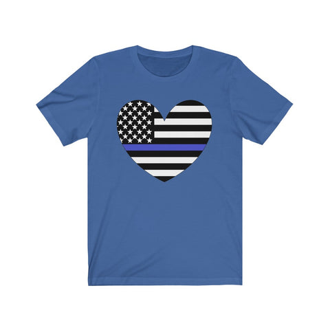 American Flag Heart Blue Stripe Short Sleeve Shirt - PoliticHell
