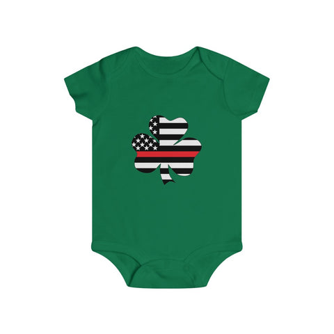 American Flag Clover Red Stripe Bottom Snap Onesie - PoliticHell
