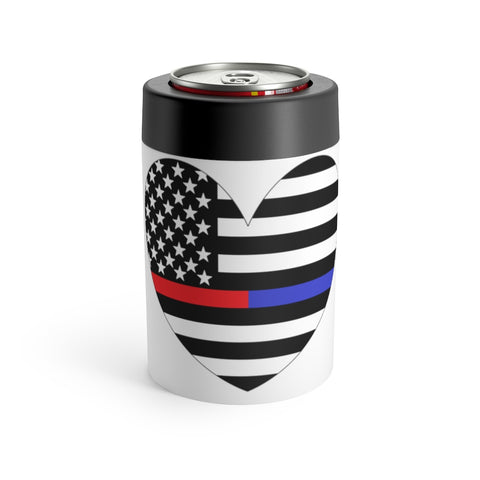 American Flag Heart Red And Blue Stripe Can Holder - PoliticHell
