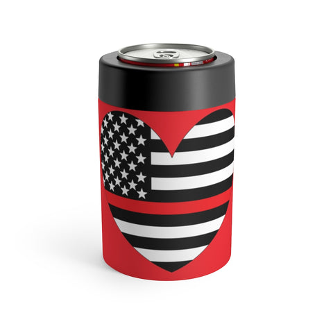 American Flag Heart Red Stripe Can Holder - PoliticHell