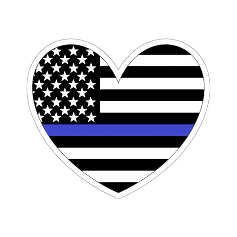 American Flag Heart Blue Stripe Sticker - PoliticHell