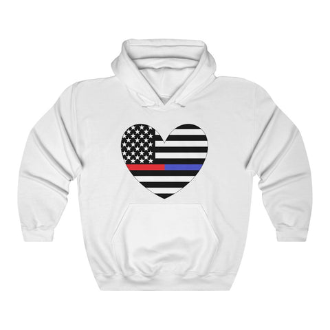 American Flag Heart Blue And Red Stripe Hoodie - PoliticHell