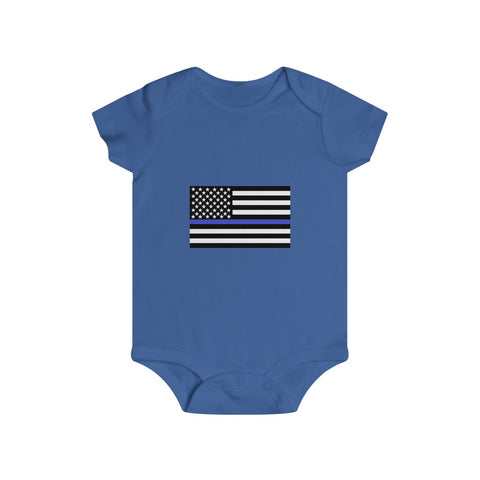 American Flag Blue Stripe Bottom Snap Onesie - PoliticHell