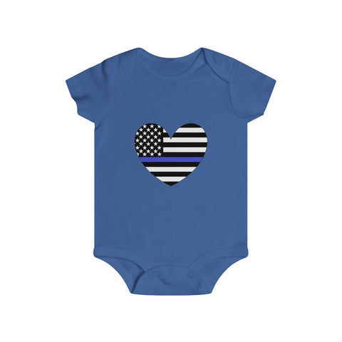 American Flag Heart Blue Stripe Bottom Snap Onesie - PoliticHell