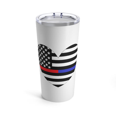 American Flag Heart Blue And Red Stripe Tumbler 20 oz - PoliticHell