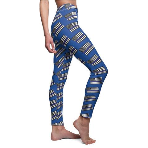 American Flag With Blue Stripe Leggings - PoliticHell