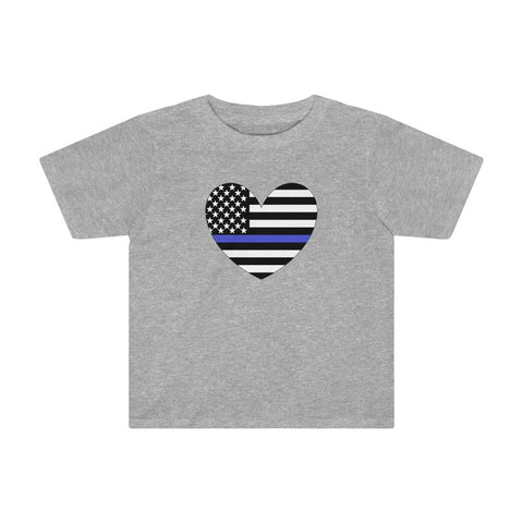 American Flag Heart Blue Stripe Kids Tee - PoliticHell