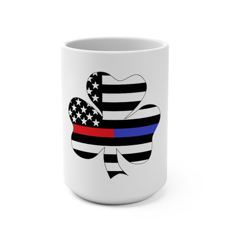 American Flag Clover Blue And Red Stripe Mug 15 oz - PoliticHell