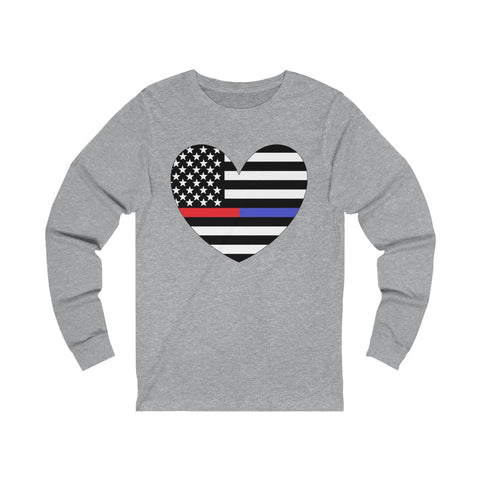 American Flag Heart Blue And Red Stripe Unisex Jersey Long Sleeve Tee - PoliticHell
