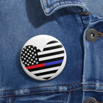 American Flag Heart Blue And Red Stripe Pin Button - PoliticHell