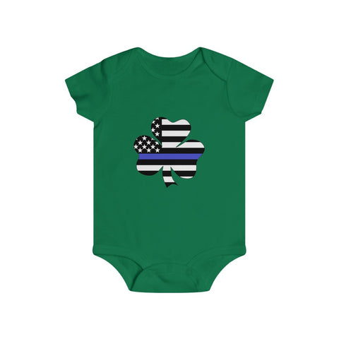 American Flag Clover Blue Stripe Bottom Snap Onesie - PoliticHell