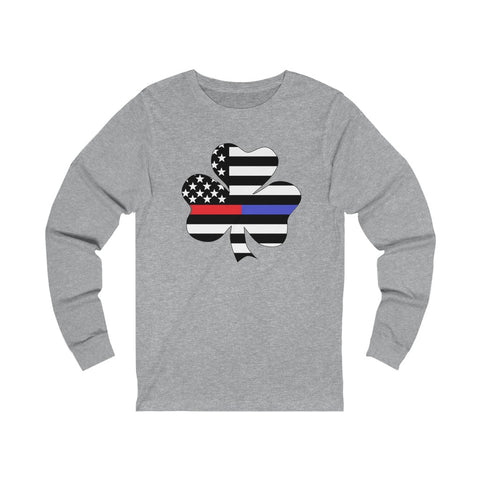 American Flag Clover Blue And Red Stripe Unisex Jersey Long Sleeve Tee - PoliticHell