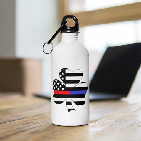 American Flag Clover Red And Blue Stripe Stainless Steel Water Bottle - PoliticHell