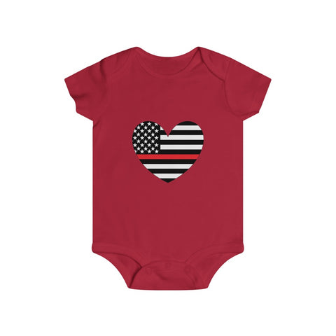 American Flag Heart Red Stripe Bottom Snap Onesie - PoliticHell