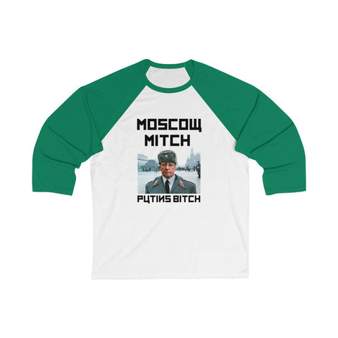 Moscow Mitch Putins Bitch 3/4 Sleeve Baseball Tee - PoliticHell