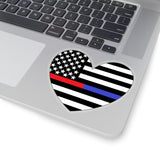 American Flag Heart Blue And Red Stripe Sticker - PoliticHell