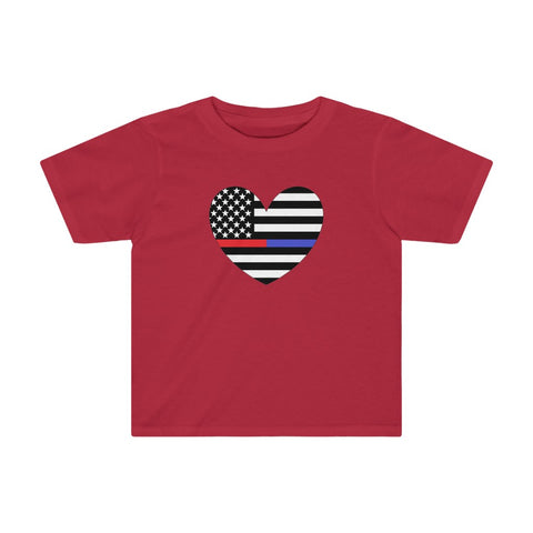 American Flag Heart Blue And Red Stripe Kids Tee - PoliticHell