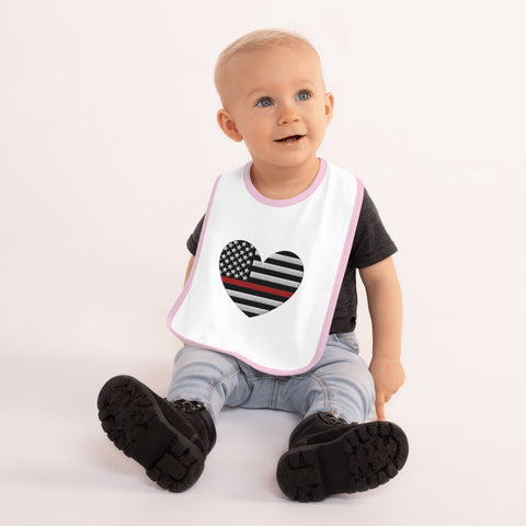 American Flag Heart Red Stripe Embroidered Baby Bib - PoliticHell