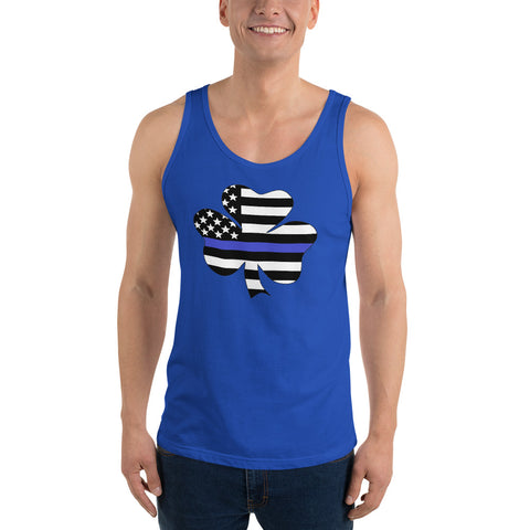 American Flag Clover Blue Stripe Unisex Tank Top - PoliticHell