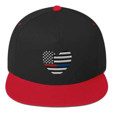 American Flag Heart Blue And Red Stripe Flat Bill Cap - PoliticHell