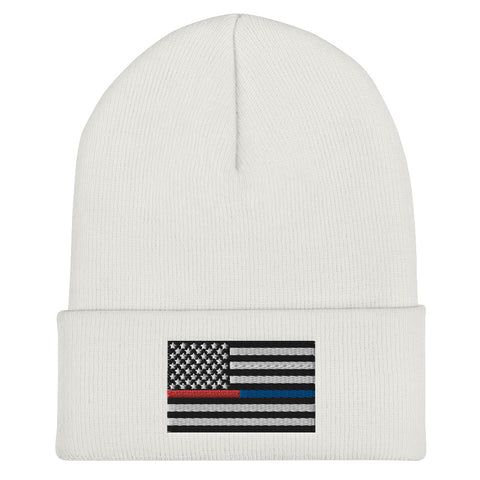 American Flag Blue And Red Stripe Cuffed Beanie - PoliticHell