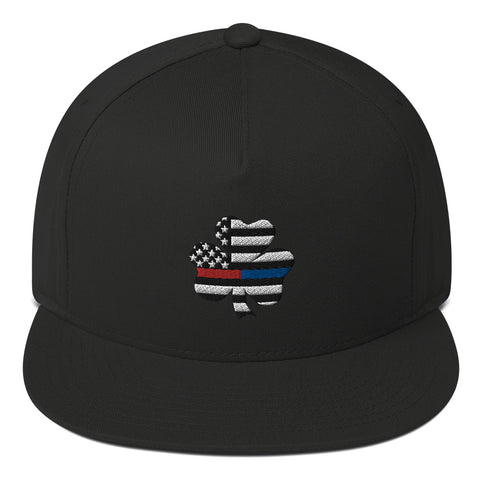 American Flag Clover Blue And Red Stripe Flat Bill Cap - PoliticHell
